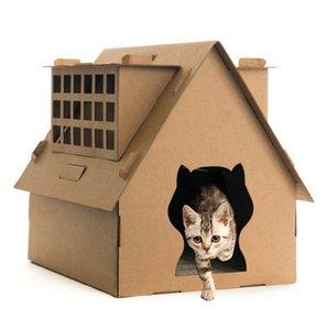 Дом картона Cat с царапинкой гофрированного картонного котенка Китти дом с царапающей площадкой кошачий дом с спальной кроватью PEET в помещении игрушка
