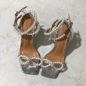 Bowknot Praça Pérola dedos mulheres sandálias de bling cego salto alto dandals moda verão com tira no tornozelo femininos sandálias partido brilho sapatos de casamento