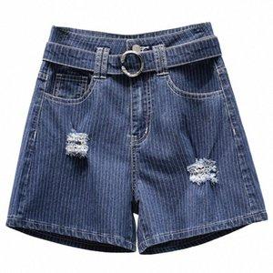Süper 5XL Yüksek Bel Delik Kot Şort Kadınlar Jeans 2020 Yaz Yeni Tasarım Mavi Dikey Çizgili Kemer Artı boyutu Seksi Ripped Jeans U4Gn #