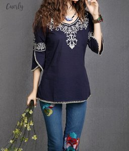 2020 New Fashion Women Girls Totem Pattern Vintage Ethnic Blouse Embroidery Cotton Casual Shirts Tops Blusa Etnica Bordada