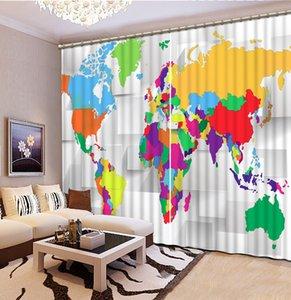 Tamanho personalizado Cortinas Blackout Curtains mapa 3D cortinas para estar escritório quarto Quarto 3d Cortina