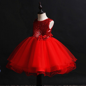 Hetiso Kids Sequined Dresses for Girls Christmas Children Clothing Princess Birthday Wedding Party Baby Girl Dress With Bow 10Y
