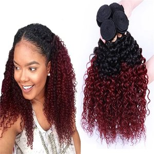 Fashion virgn kinky curly Hair Ombre Human Hair Weave 1b 99j Dark Root Red non-remy Hair Extensions