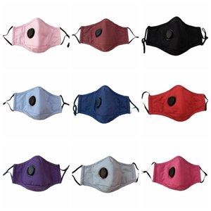 Solid Colors Дыхательной клапан Маска пыленепроницаемого маски для лица Маски Многоразовых моющихся взрослых Cotton Face с Дыхательным клапаном CCA12351 200pcs