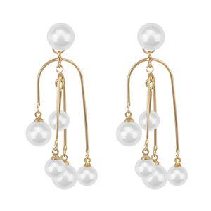 2020 neue Ankunfts-Simulated-Pearl Trendy lange Frauen baumeln Ohrringe einzigartige Perle Quaste Ohrringe Barock Ohrhänger