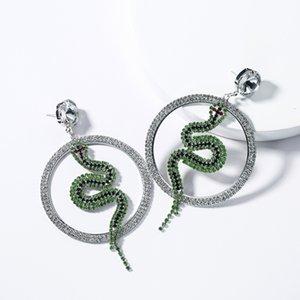 Exaggerated S925 silver needle glass diamond ring rhinestone snake-shaped full diamond earrings female personality temperament earrings