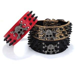Or cravate noire collier de chien à ongles crâne Rivet Collier pour chien Anti Bite Dog clouté clouté grande chaîne de traction GB1166