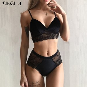 Embroidery Lingerie Black Velvet Women Bra Set Lace Brassiere Sexy Underwear Set Cotton Wire Free Bra Panties Sets High Waist Y200708