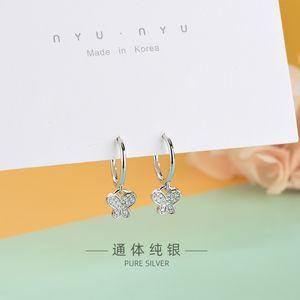 S925 Sterling Silver Japanese and Korean-Style Diamond-Set Zircon Butterfly Earrings Niche Artistic Style Cute Animal Earrings a Generation