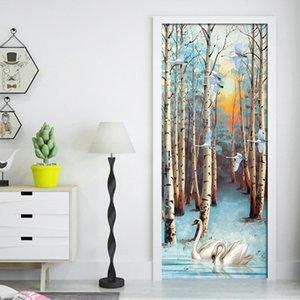 Дверь sticker2Pcs / комплект ПВХ самоклеящаяся 3D Съемная стикером двери Swan в лесу озеро Обои Гостиная Двери Декор Wa