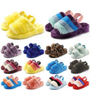 여성 모피 레저 봉제 슬리퍼 슬라이드 여성 신발 샌들 Pantoufle 모피 다채로운 인쇄 슬리퍼 플립 방언 트레이너 36-44 퍼