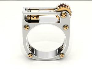 Design speciale Geomeccanica Donne Uomo Argento 925 in argento sterling in 18 carati in oro Placcato oro Bithstone Bithstone Banda di nozze Anello di fidanzamento