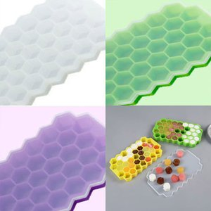 Silicone Ice Cube Tray Honeycomb Ice Lattice Mold With Cover Lid Freeze 37 Cavity Party Whiskey Ice Cube Storage Containers HH7-1108