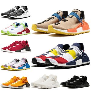 New Arrival Human Race Hu trail Running Shoes Pharrell Williams Triple White Red Blue Nerd Black Solar Pack Sun Glow Mens Trainers Sneakers