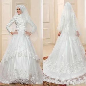Manches longues musulmanes Robes de Mariée avec Hijab dentelle vintage arabe Appliques Robes de mariée Islam Kaftan Vêtement de mariage