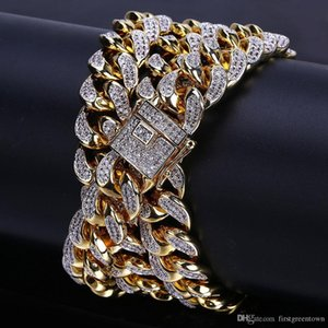 Hip-hop Men Cuban Big Gold Chain 14 Mm Stereo Micro-zircon Necklace Water Wave Chain Hot Selling In Europe and America