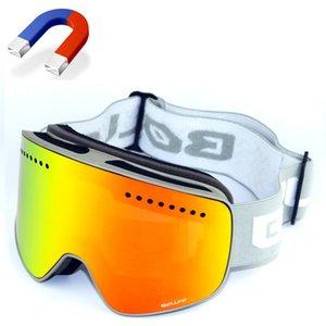 BOLLFO Marca magnética esquí vidrios de la lente gafas de alpinismo de doble UV400 anti-vaho gafas de esquí Hombres Mujeres moto de nieve espectáculos Y200616