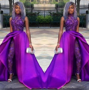 2020 Prom Dresses Avec Jumpsuits détachable Train à grande cou dentelle Appliqued Robes de soirée Parti africain femmes Costumes Pantalons robes de soirée