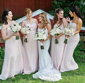 2020 Cheap Pink Bridesmaid Dresses Chiffon Sweetheart Ruched Pleats A Line Floor Length Plus Size Maid of Honor Gown Wedding Guest Wear