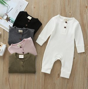 INS Baby Rompers Solid Color Infant Girl Jumpsuit Long Sleeve Newborn Boy Playsuit Boutique Baby Clothing 6 Color Optional DW4716