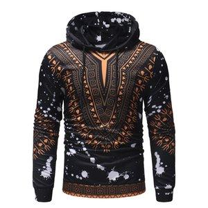 Hot ventes 2020 Afrique Dashiki Mode Hommes Sweat-shirts Ethnic vent 3D Imprimez des Sweatshirt à capuche manches Casual Male Sweat