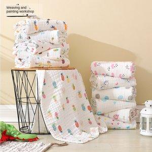 CWN9I bebé de seis capas de toallas de baño Aire acondicionado colcha de algodón puro de los niños 110 * 110cm de seis capas de toallas de baño de burbujas de aire acondicionado hilo q