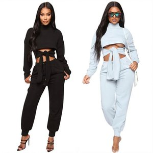 2 Piece Sets Womens Outfits Matching Sets Crop Tops Front Tie Solid Long Sleeve Casual Women Two Piece Set Clothing