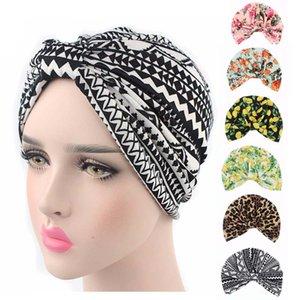 New Vintage-Stil dehnbar Baumwolle Blumenfruchtdruck Turban Hat Stirnband Wrap Chemo Bandana Hijab Plissee Cap