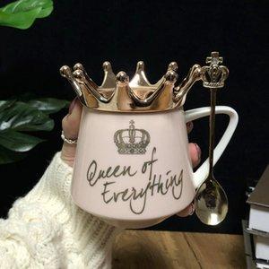 핑크 크라운 컵 노르딕 바람 INS 머그컵 스트랩 스푼 커피 컵 창조적 인 조식 컵과 머그컵 소녀 선물 Y200106 세라믹 물 우유