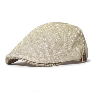 Women's breathable mesh thin casual newsboy beret hat beret cap shiny forward cap Women's hat