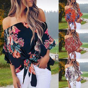 Sexy Summer Blouse Femme Floral Impression Encolure Chemise manches en vrac Casual Blouse Hauts pour dames de grande taille