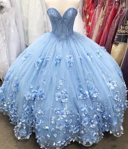 Blau-Bonbon 16 Quinceanera Kleider 2020 Ballkleid weg vom Schulter-3D Blumen Plus Size Günstige Cinderella Debütantin Vestidos 15 Anos