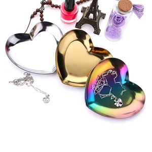 Jewelry Display Tray Wholesale Necklace Tray Fancy Tray Colored Heart Shape Stainless Steel Serving Plate Storage