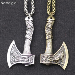 Odin Norse Viking Wolf e Raven Axe Amulet Wiccraft Pingente Colar Wicca Pagan Slavic Perun Axe Jóias Dropshipping 2020