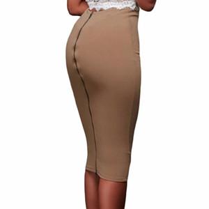 Женщины Тонкий Встроенная юбка-карандаш Mid теленок высокой талией Прямо Женщины назад молния юбка Женский Твердая империя
