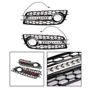 Areyourshop Auto-LED Nebelscheinwerfer Grill Chrom-Ring Auto gepasst für Audi A4 S-LINE S4 2008-2012 Auto Auto Zubehör Teile