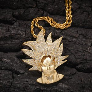 New Fashion Gold Plated Bling Cubic Zircon Super Saiyan Sun Wukong Pendant Necklace Chain Personalized Diamond Hip Hop Jewelry for Men Guys