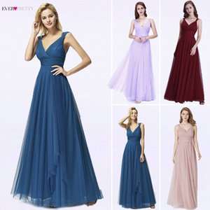 Long Evening Dresses 2020 Ever Pretty EP07303OD New Fashion Sexy A Line V Neck Tulle Wedding Party Gowns Robe De Soiree Longue Y190710