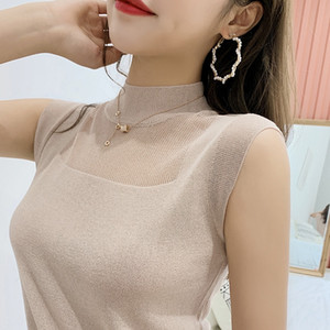 Camisole female wear short waistcoat all-match ice silk knitted base shirt Top Vest vest loose inside armless top