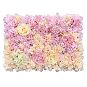 High Quality 40x60cm Silk Rose Artificial Flowers Wall Panel Romantic Plant Wall Grass for Home Wedding Background Decoration T200716