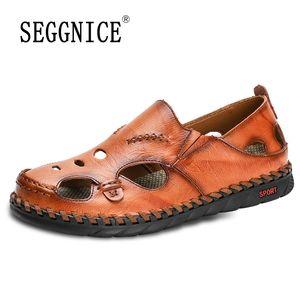 SEGGNICE echtes Leder für Männer Schuhe Baotou Art und Weise 2020 Sommer-Sandelholz-Casual Male Qualitäts-Schuhe