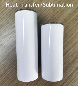 20 oz Sublimation Gobelets Gobelet en acier inoxydable Aspirez mur double droit Coupe isolé Bouteille d'eau de transfert de chaleur blanc Coupe A02
