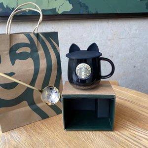 Starbucks Taça Taças de luxo beijo com tampas e colher Casal de cerâmica casais canecas Casado Aniversário da sereia Bronze Medalhão produtos do presente