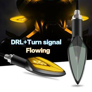 1 개 쌍의 오토바이 LED 턴 시그널은 물 DRL 낮 실행 조명 테일 표시 램프 바이 컬러를 흐르는 빛