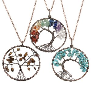 LOULEUR 50cm Antique Red Copper Color Multi Color Nature Stone Agates Life Tree Pendant Charm Necklaces For Men Women Jewelry