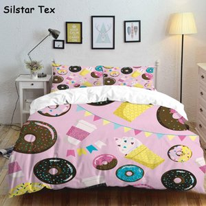 Silstar Tex Donuts Pink Bedroom Set Bedding Girls Home Pillow Linen Sheets Baby Crib Nursery bed Clothes all size Customized