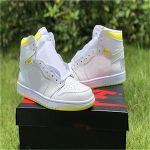 Alta Qualidade Novo 1 First Class vôo Mens Basketball Shoes Formadores 1s código de barras Branco Lemon Yellow Sneakers Sports