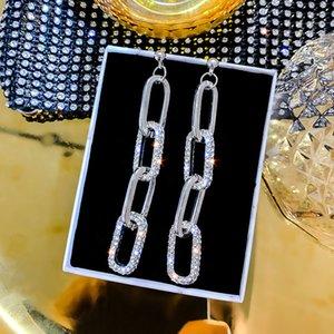 Silver needle Europe and the United States fashion set diamond long earrings by027 Korean joker geometric long square earrings