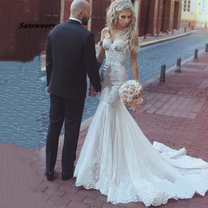 Off Shoulder Mermaid Wedding Dress Vintage Applique Illusion Backless Dubai Arabic Robe De Mariee Custom Made New Arrival