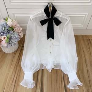 high quality women stand collar bow ruffles blouses 2020 designer ladies elegant lantern sleeve see through Shirts + tank S154